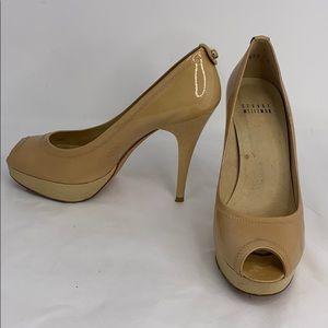 Stuart Weitzman 6M Nude Patent Leather Peep Heels